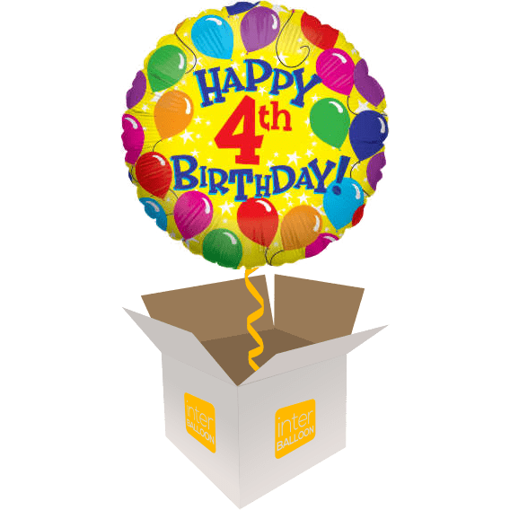 4th Birthday Helium Balloons Delivered In The UK By InterBALLOON