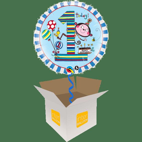 1st Birthday Blue Stripe Monkey