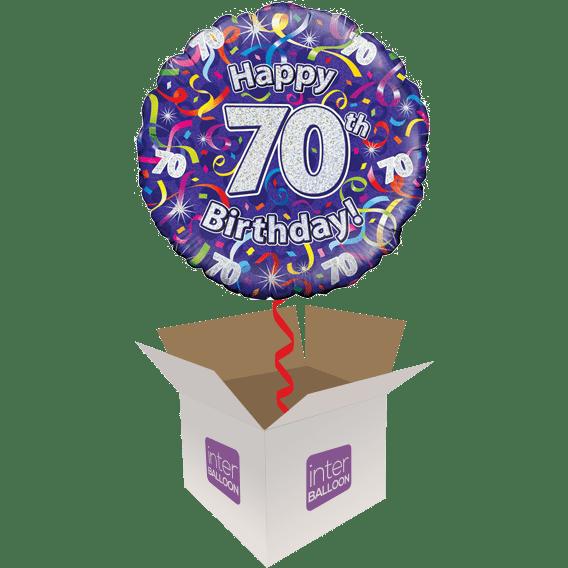Happy 70th Birthday Purple Streamers