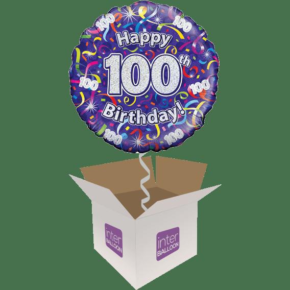 100th Happy Birthday Purple Streamers