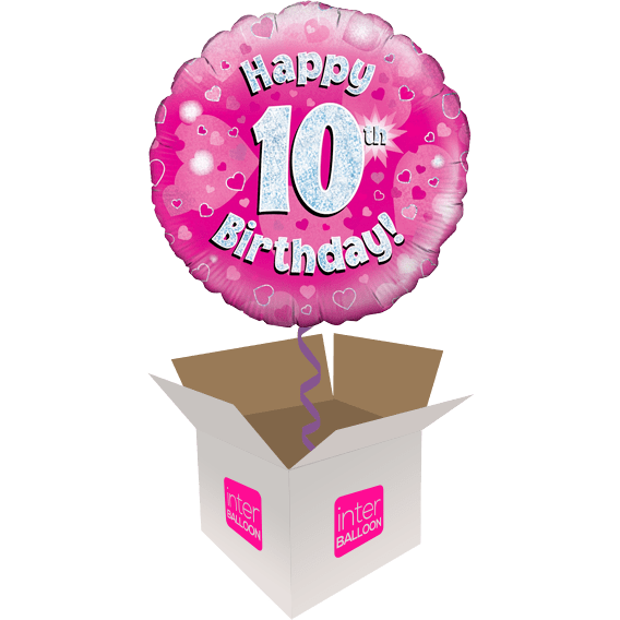 Pink Holographic Happy 10th Birthday