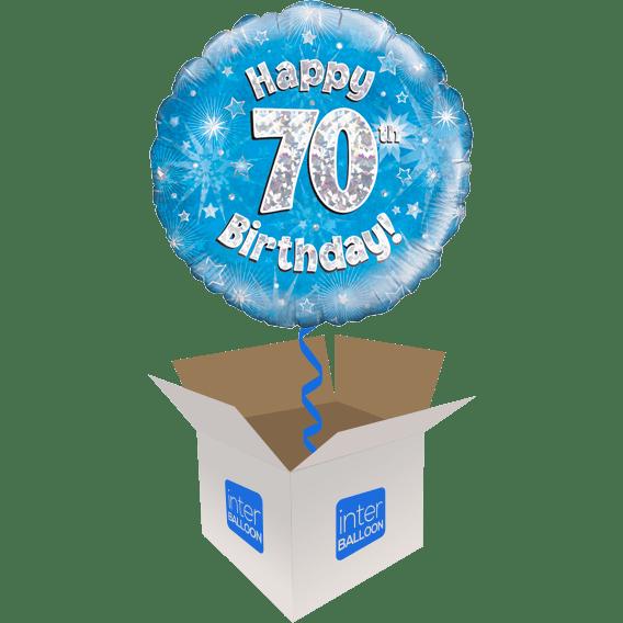 Happy 70th Birthday Blue Holographic