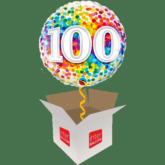 100th Birthday Balloons Say Happy 100 Rainbow Confetti