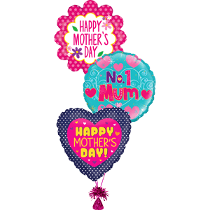 Three Mother's Day Balloons (designs may vary)