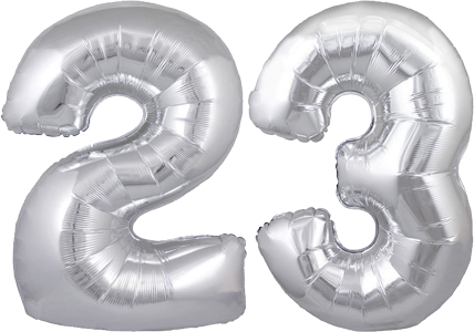 23rd Birthday Balloons Say Happy 30 Silver No 23 Megaloon