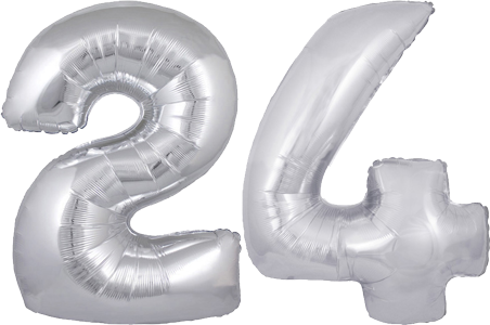 24th Birthday Balloons Say Happy 30 Silver No 24 Megaloon