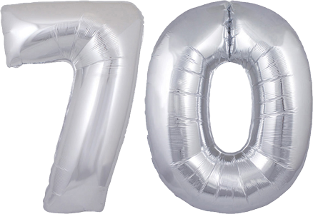 70th Birthday Helium Balloons Delivered In The UK By InterBALLOON